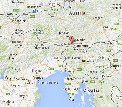Localización de Villach - Cerca de la frontera con Italia y Eslovenia