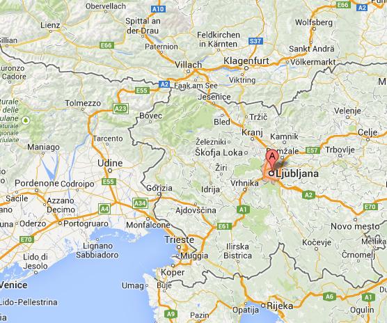 Ljubljana, capital de Eslovenia. Cerca de Italia, Austria y Croacia.