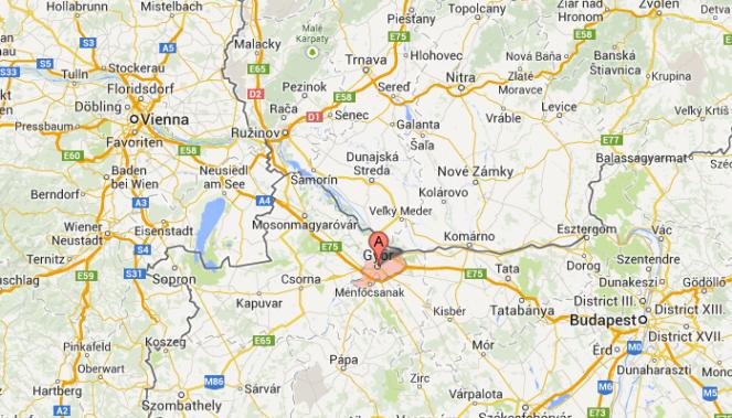 Localización de Gyor. Entre Viena y Budapest